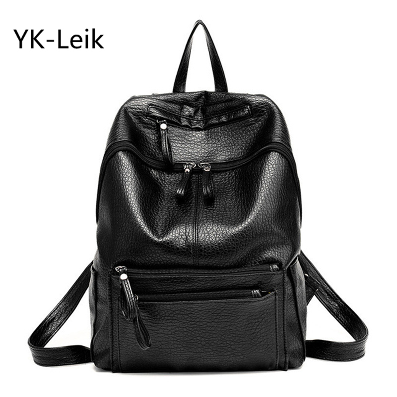 YK Leik 2017 Leather Backpack High Quality Pu Leather Women Backpacks Casual Large Capacity Travel Shopping