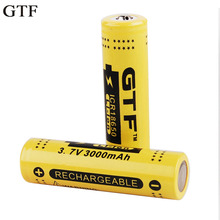 Фотография GTF 2Pcs/Lot Genuine Full Capacity 3000mAh 18650 3.7V Li-ion Rechargeable Battery with Protected PCB power Battery For You