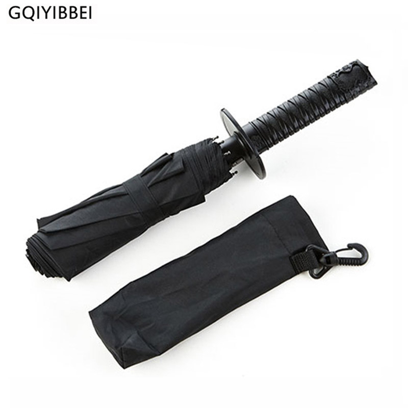 GQIYIBBEI Creative Japanese Samurai Ninja-like Sword Dagger Shape Umbrella Long-handle Black Rain Sun Folding knife Umbrellas