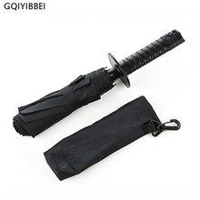 GQIYIBBEI 크리 에이 티브 일본어 사무라이 닌자 같은 검 대거 모양의 우산 롱 핸들 블랙 비 태양 접는 나이프 우산