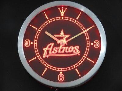 nc0566 Houston Astros Neon Sign LED Wall Clock