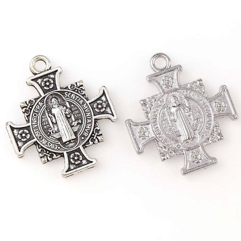2 Color Medal Of Saint Benedict In Cross Jesus Christian Jewelry Crosses Charms St Benedict Crucifix Pendants For Pendants Neck