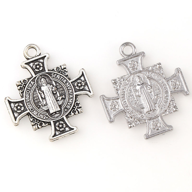 6af69ea5370a1 US $0.7 12% OFF| 2 Color Medal Of Saint Benedict In Cross Jesus Christian  Jewelry Crosses Charms St Benedict Crucifix Pendants For Pendants Neck-in  ...