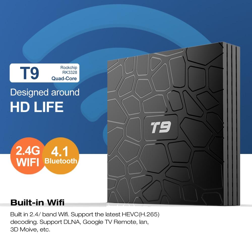 H96 4GB RAM 64GB ROM Android 9.0 TV Box T9 RK3328 Quad Core 4G/32G USB 3.0 Smart 4K Set Top Box Android 8.1 2.4G/5G Dual WIFI