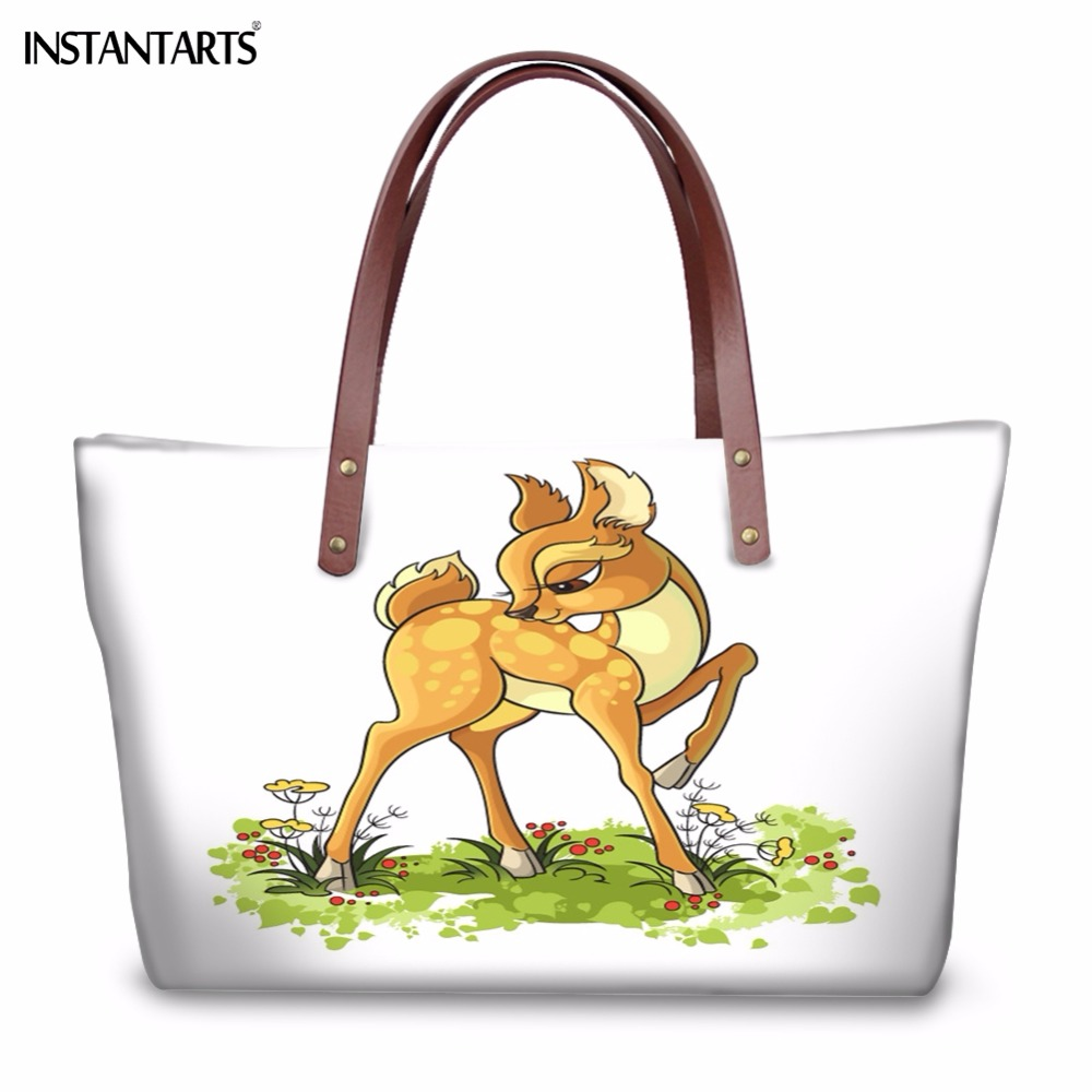 INSTANTARTS Deer Printed Women Handbags for Ladies Shopping White Large Capacity Travel Tote Bag Fashion Cute Cartoon Beach Bag forudesigns casual women handbags peacock feather printed shopping bag large capacity ladies handbags vintage bolsa feminina