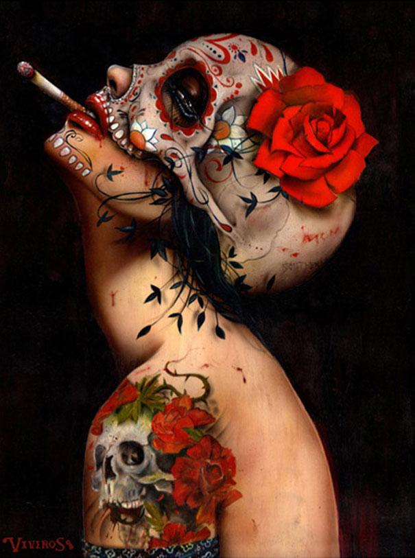 Высокое качество картина маслом на холсте репродукции Viva La Muerte от Brian M. Viveros живопись ручная роспись