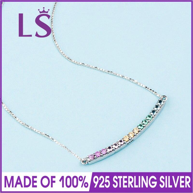 LS 2018 nouveau 100% 925 argent Sterling multicolore collier de Bar incurvé femmes Original bijoux fins femmes cadeaux de noël.