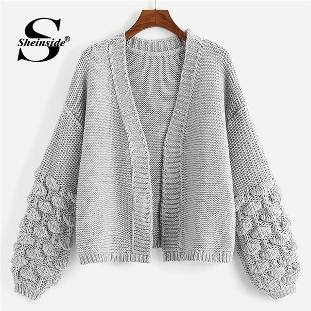 dfc7af302 Sheinside Grey Crochet Bishop Sleeve Marled Cardigan Women Knitted Clothes  2018 Autumn Fashion Womens Sweater Ladies Cardigans