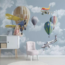 Nordic minimalist hand-painted cartoon aircraft balloon childrens room background wall manufacturers wholesale wallpaper mural