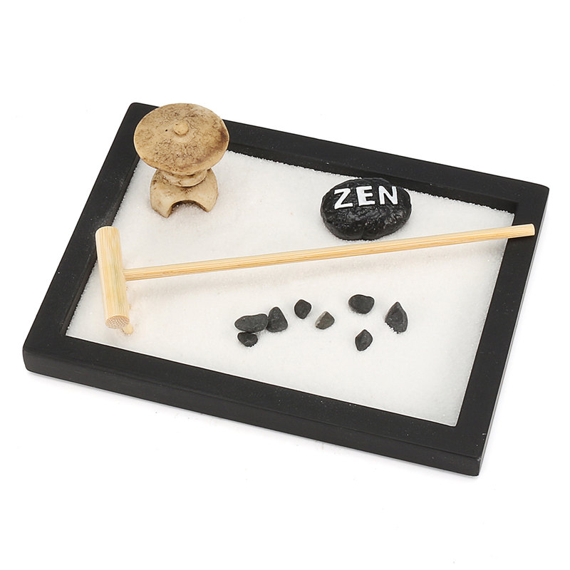 KiWarm Mini Zen Garden Office Gift Decor Feng Shui Rake Pebble Sand ...