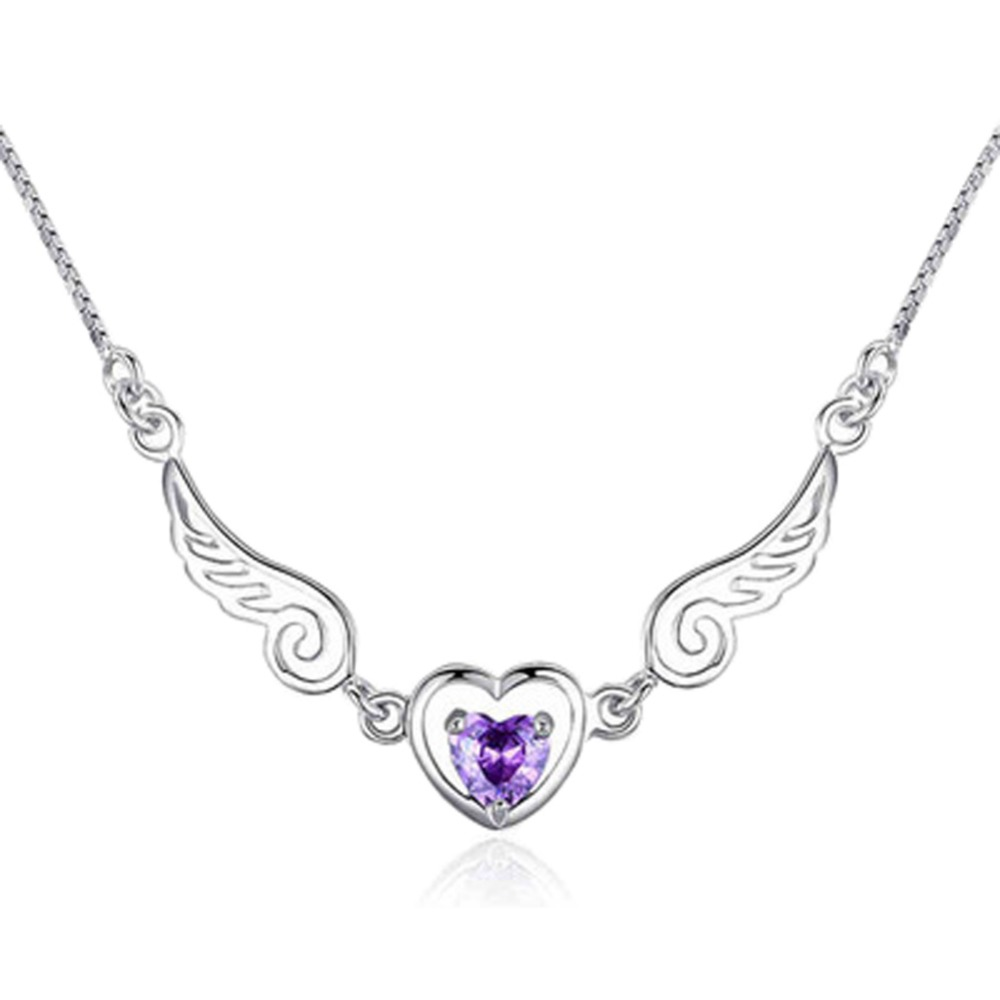 Women Girls Jewelry Silver Plated Zircon Angel Wing Necklace Pendant Crystal  Love Heart Chain Necklace