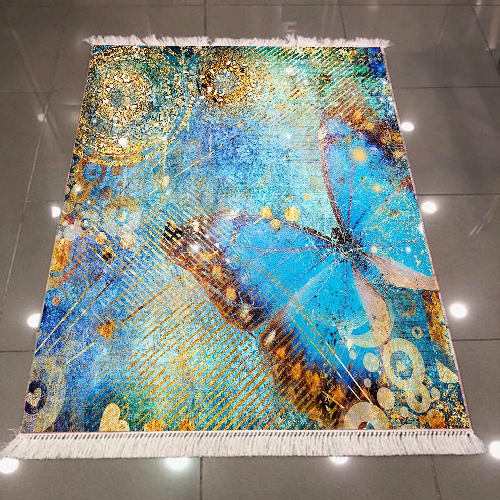 Else Big Blue Brown Butterfly Aging Vintage 3d Pattern Microfiber Anti Slip Back Washable Decorative Kilim Area Rug Carpet