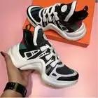 YS 920042 Platform 6CM Sneakers Geen Logo Sport Running Casual Schoenen Echte Koe Lederen Schapenvacht Binnenzool vrouwen Vulcaniseer schoenen - 3
