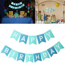 Colorful Happy Birthday Banner Party Flags Letters Shaped Bell Garland Flags For Kids Children Party Supplies Decorations(China)