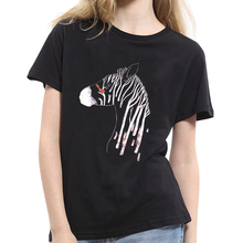 New Women Fashion Zebra Print T-shirt Tee Women Round Neck Short Sleeve Summer Top Comfort