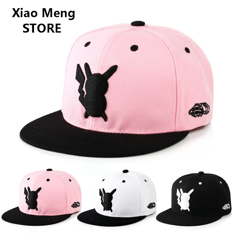 Anime Pokemon Pikachu Baseball Cap Pokemon Go Snapback Hat Adults And Children Pokemon Elves Mobile Game Hip Hop Hats Bone M55 new cartoon pikachu cosplay cap black novelty anime pocket monster ladies dress pokemon go hat charms costume props baseball cap
