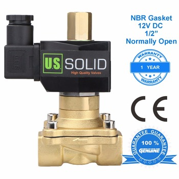 U.S. Solid 1/2 Solenoid Valve  Brass Electric 12V DC Normally Open water, air, oil, CE Certified free shipping 2pcs 1 1 2 normally open brass electric solenoid valve no 2w400 40 no dc24v