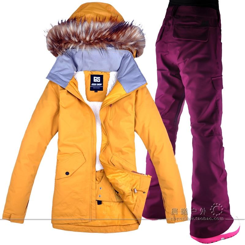 2018 GSOU SNOW Women Ski Jacket Pant Snowboard Clothing Trouser Winter Suit Windproof Waterproof Outdoor Sport Wear Female Suit