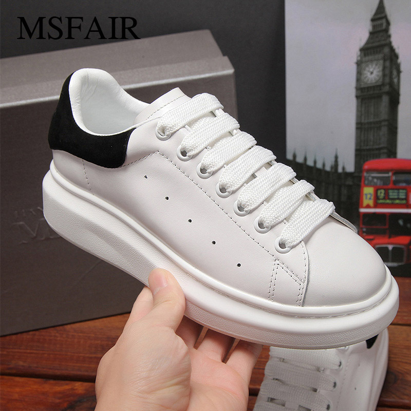 Msfair Men Women Skateboarding Shoes Ladies sneakers shoes Canvas Shoes Sport Shoes For Women Men Sneakers Flat With Lovers msfair 2018 cow leather skateboarding shoes woman brand genuine leather women sport shoes rhinestone white sneakers for ladies