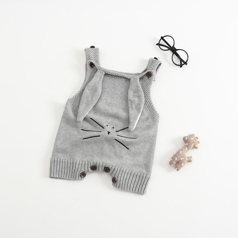 Nowa wiosna Antumn Rabbit Uszy Knitting Baby Romper Miękka - Odzież dla niemowląt - Zdjęcie 3