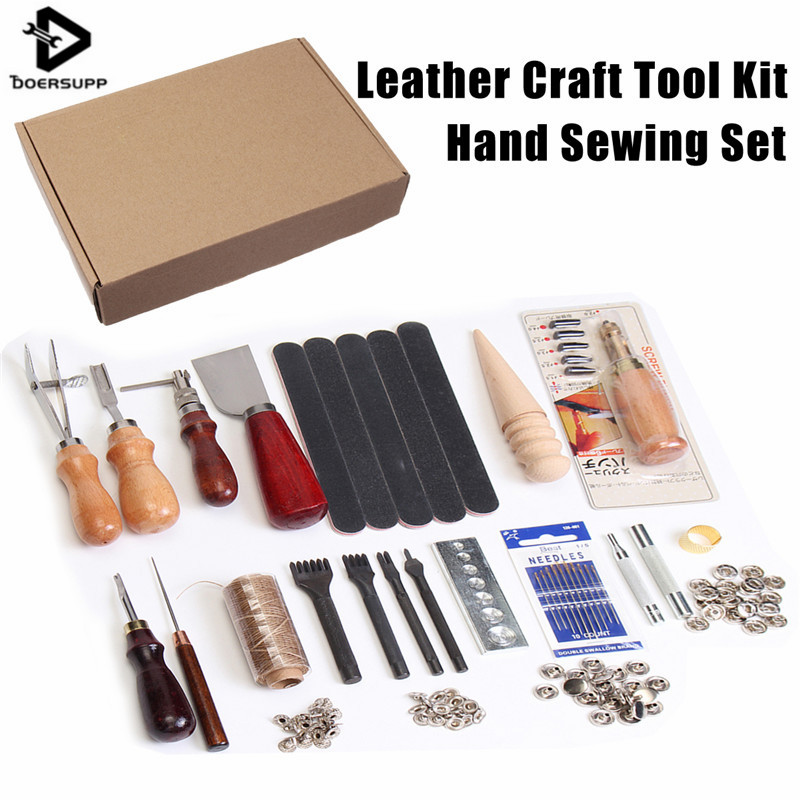 35Pcs/Set DIY Leather Craft Tool Set Stitching Carving Working Sewing Handmade Leather Goods Hand Sewing Set casserole set