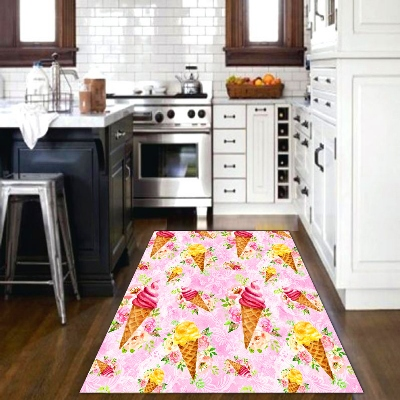 Else Ice Cream Abstract Pink Yellow Green Fruits 3d Print Non Slip Microfiber Kitchen Modern Decorative Washable Area Rug Mat