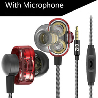 FancyQbue QKZ DM8 Earphones With Mic Mini Dual Driver Extra Bass Turbo Wide Sound Gaming Headset