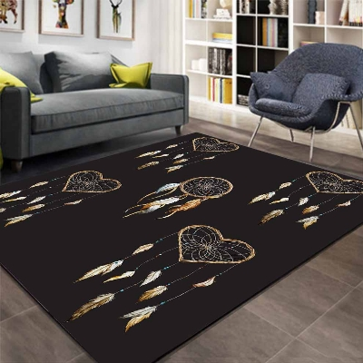 Else Black Floor On Bird Feathers Wood Hearts 3d Print Non Slip Microfiber Living Room Decorative Modern Washable Area Rug Mat