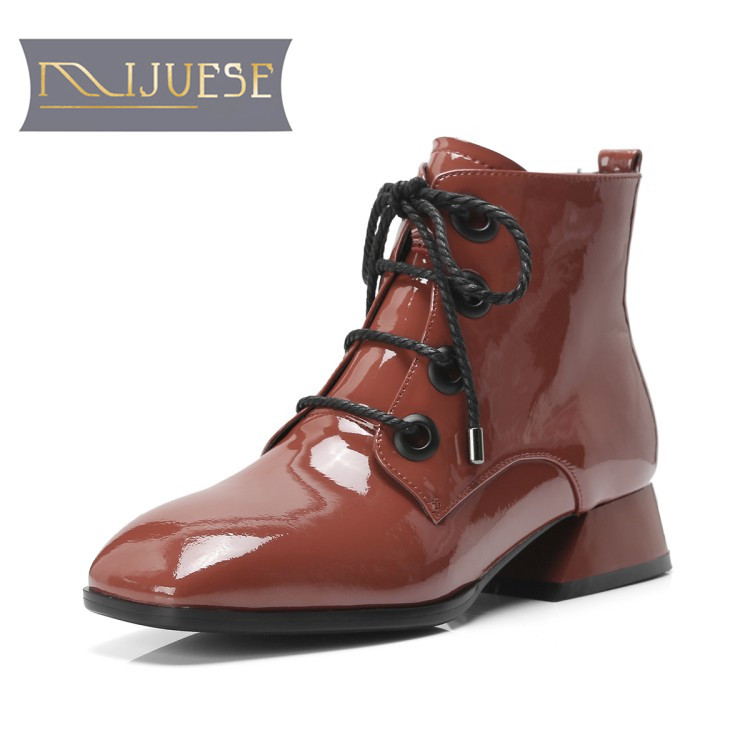 MLJUESE 2019 women ankle boots cow leather patent leather lace up low heel female boots winter short plush warm boots size 33-42 mljuese 2019 women ankle boots cow leather lace up short plush winter warm fur platform boots low heel women martin boots