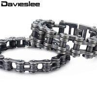 Davieslee Biker Xe Máy Mens Bracelet Chain Gunmetal Matte 316L STAINLESS Steel Punk Jewelry Bán Buôn 12-24 mét LHB423