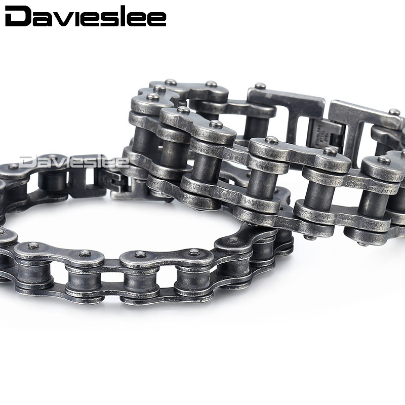Davieslee Mens Bracelets 2018 Biker Motorcycle 316L Stainless Steel Gunmetal Matte Punk Bracelet for Men 12-24mm LHB423Davieslee Mens Bracelets 2018 Biker Motorcycle 316L Stainless Steel Gunmetal Matte Punk Bracelet for Men 12-24mm LHB423