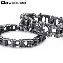 Davieslee Mens Bracelets 2018 Biker Motorcycle 316L Stainless Steel Gunmetal Matte Punk Bracelet for Men 12-24mm LHB423