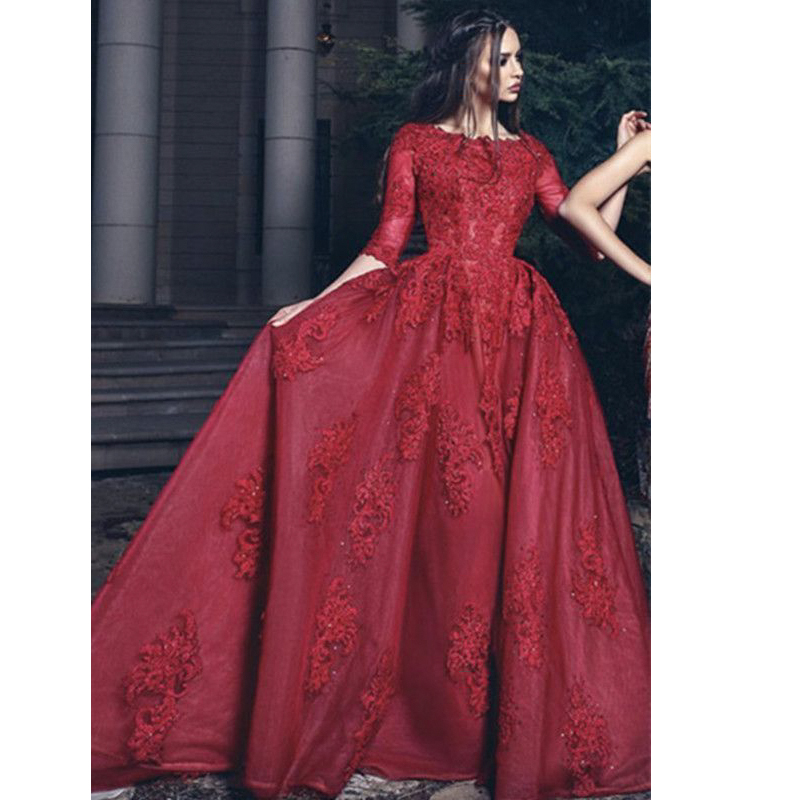 Angel Married evening dresses 2019 Burgundy prom dress half sleeve lace women party gown formal dress