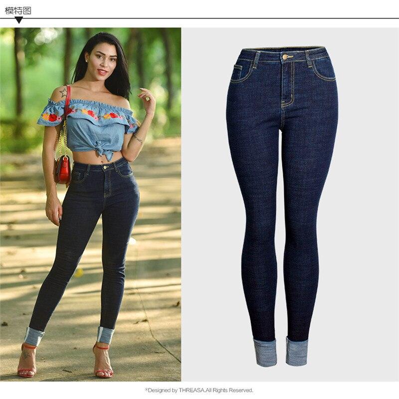 Moda Mujeres Novio Vaqueros Denim Elástico Cintura Alta Las Lápiz Skinny  Mujer De Blue Verano Pantalones Jeans ... 9dd32eafcc5d