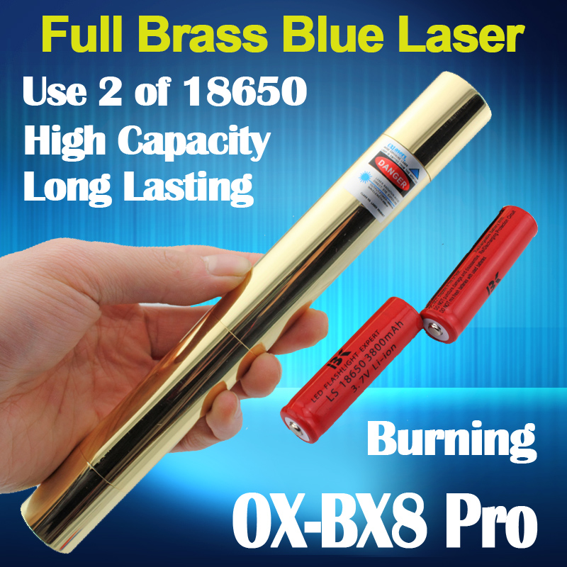 oxlasers Full brass housing OX BX8 4000m focusable burning blue laser pointer uses 18650 batteries 5