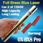 Oxлазеры полный латунный корпус OX BX8 4000 м Фокусируемый сжигание синий лазерный указатель Использует 18650 батареи 5 в 1 Бесплатная доставка