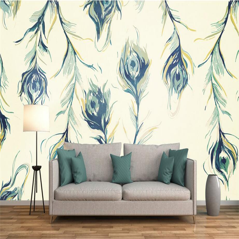 Custom Wallpapers Photo Mural Cafe Hotel Club Wallpaper Roll Peacock Feather Wallpapers for Living Room Elegance Bird Background custom european style wallpapers little angel fresco wallpaper for walls 3d hotel greek mythology mural western photo wallpapers