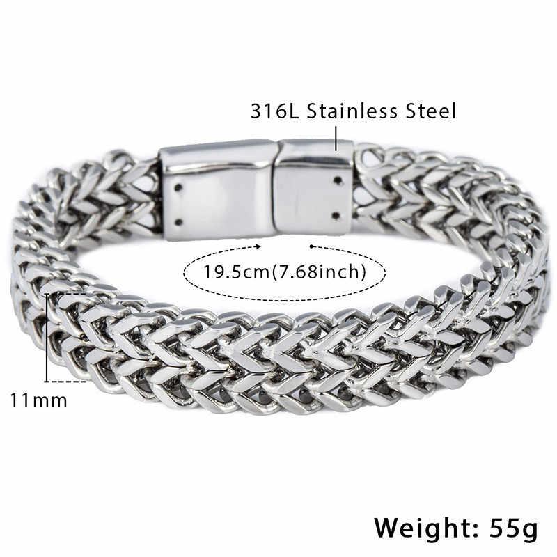 e26e25150d59e Men's Bracelets Hip Hop Big Gold Silver Black Foxtail Link 316L Stainless  Steel Bracelet For Male Jewelry Wholesale 12mm KHB246
