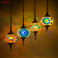 Средиземноморского турецкого подвесной светильник ручной работы Витражного Стекло абажур Винтаж подвесные светильники для бара Кофе мага