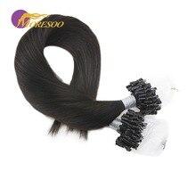 Moresoo Remy, человеческие волосы для наращивания на микро кольцах, цвет черный# 1B, волосы для наращивания на микро-бусинах, натуральные человеческие волосы, 50 прядей, 50 г