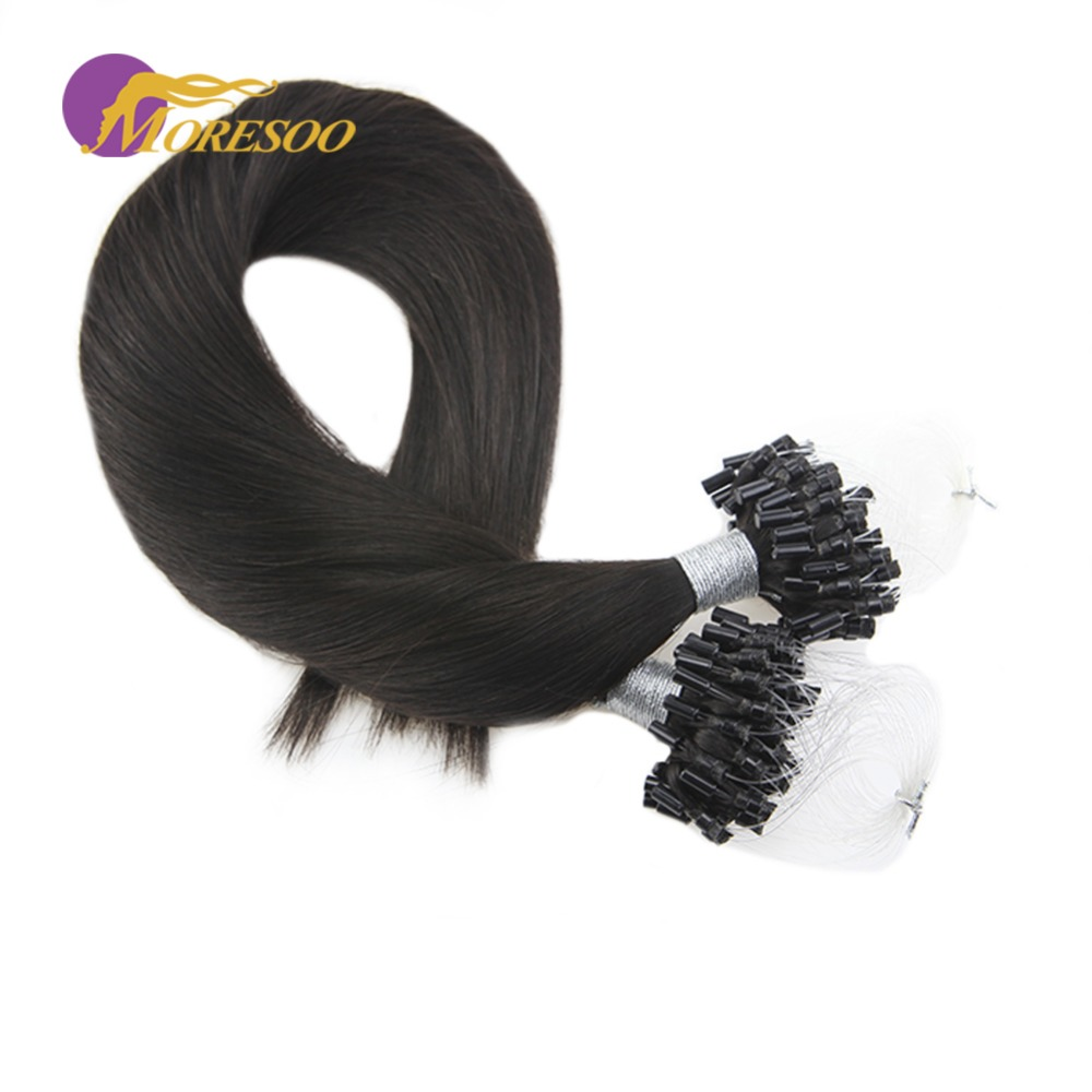 Moresoo Remy Micro Ring Human Hair Extensions Color Off Black #1B Micro Bead Hair Extensions Natural Human Hair 50 Strands 50G