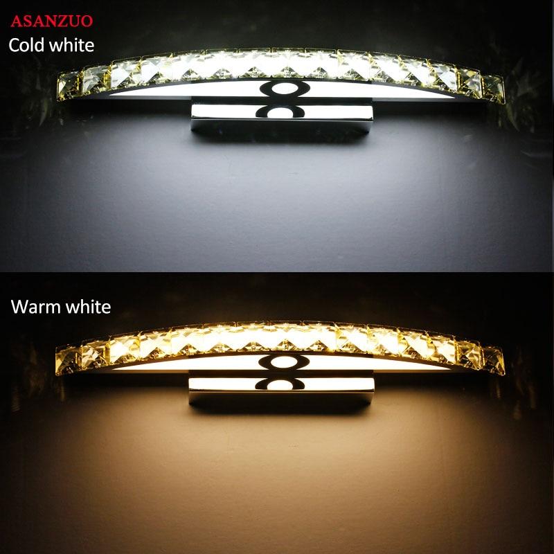 110V220V зеркало для ванной комнаты передний светильник светодиодный из нержавеющей стали кристалл настенные светильники для макияжа ванная к...