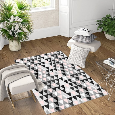Else Pink Black White Gray Triangle Geometric 3d Patterned Print Non Slip Microfiber Living Room Modern Washable Area Rug Mat