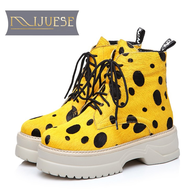 MLJUESE 2018 women ankle boots horsehair lace up Rome style yellow color winter short plush platform