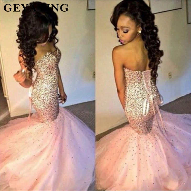 2019 Sparkle Crystals Beaded Pink African   Prom     Dresses   Mermaid Black Girls Luxury Party   Dress   Corset Long Formal Evening Gowns