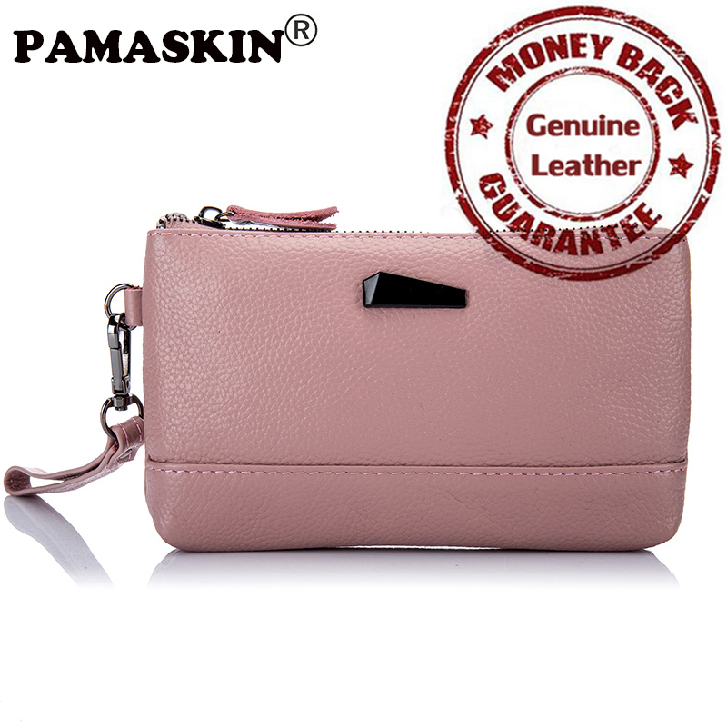PAMASKIN Women Organizer Wallets Luxurious Cow Leather Brand Designer 2017 Newest Long Female Zipper Coin Purses with Hand Rope