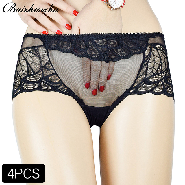 35a226714a3 Baizhenzhu 4 pieces combination of ultra-thin transparent panties women  plus size hot sale fashion sexy lace women s briefs