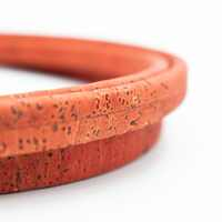 10x5mm Orange Red Licorice Leather Cork Cord Portuguese cork jewelry supplies /Findings cord vegan COR-348