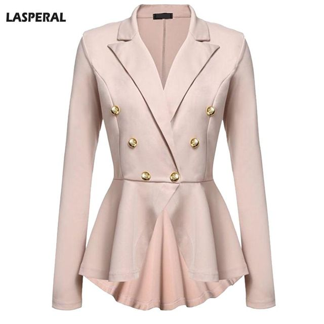 Lasperal 2017 Double On Jacket Coats Women Business Cloth Long Sleeve Pleated Autumn Jackets Irregular Office