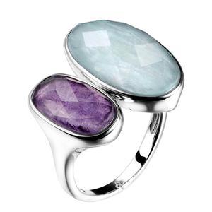 Image 1 - DORMITH gerçek 925 ayar gümüş taş yüzük doğal amazonit florit taşı yüzükler kadınlar takı için rejustable boyut halka